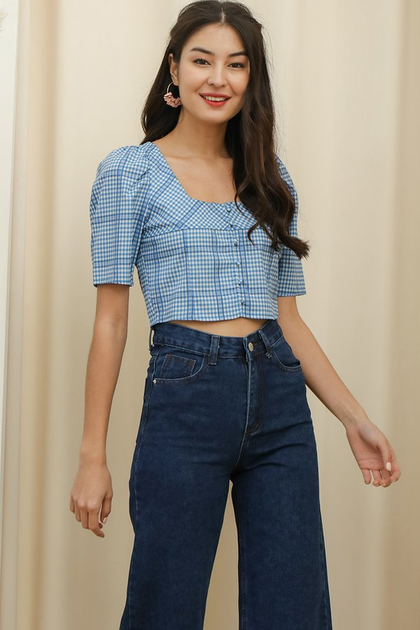 Out of the Blue Checked Button Crop Top